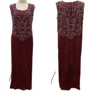 Vintage burgundy beaded long maxi evening dress